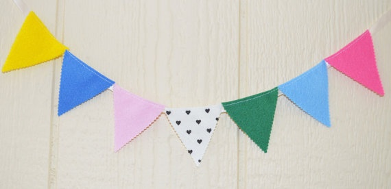 Fiesta mini banner Party 7 flags Garland 29 by IzabelleCollections, $10.00
