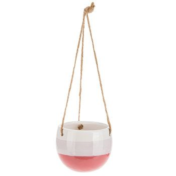 Pink & White Hanging Flower Pot - Large