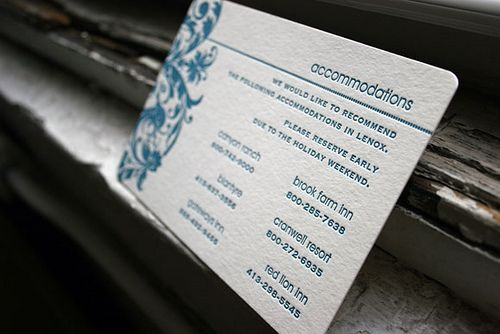 Letterpress accommodation card for wedding invitation suite - by Smock by Smock Letterpress, via Flickr