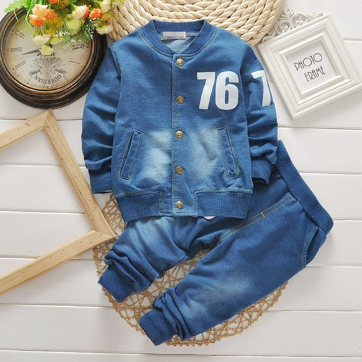 boys suits denim Jeans coat 2PCS sets