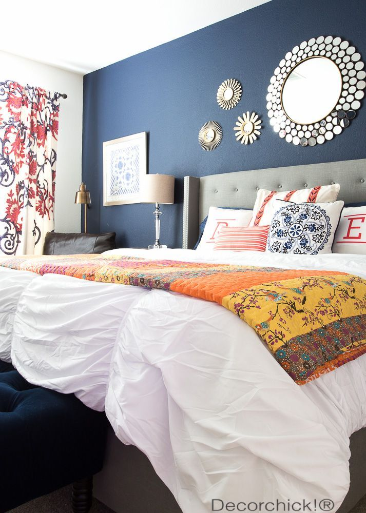 Navy And Orange Bedroom Refresh With New Bedding From Walmart And Bhg Decorchick Home Decor Bedroom Colorful Bedroom Design Bedroom Orange