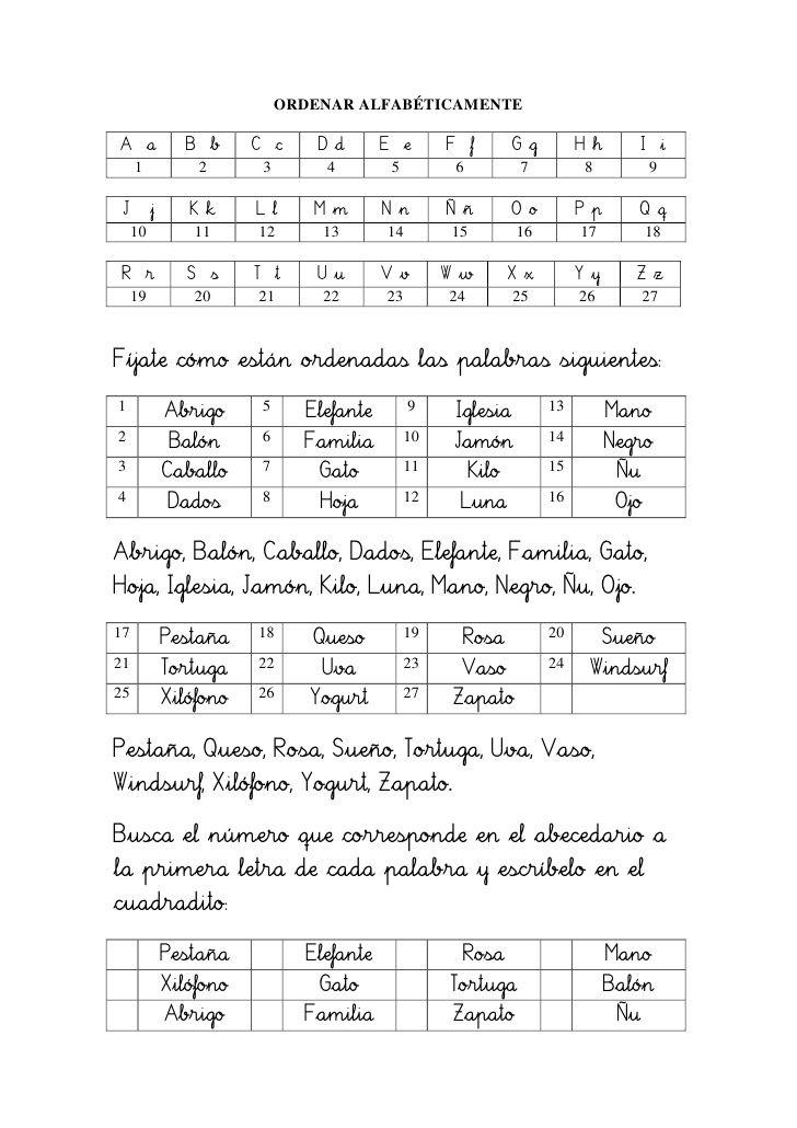 Ordenar Alfabéticamente 1 Ejercicio Almeria