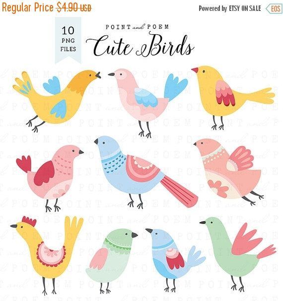 60% OFF SALE Bird Clipart cute birds clip art bird by pointandpoem