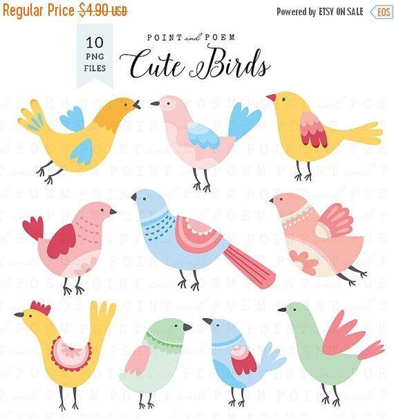 60% OFF SALE Bird Clipart cute birds clip art bird by pointandpoem