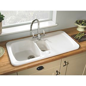 Order online at Screwfix.com. Combines curvaceous contours and a defined linear drainer pattern with a solid ceramic finish to create a sink equally at home in traditional and modern kitchens alike. 5 year manufacturer's guarantee. FREE next day delivery available, free collection in 5 minutes.