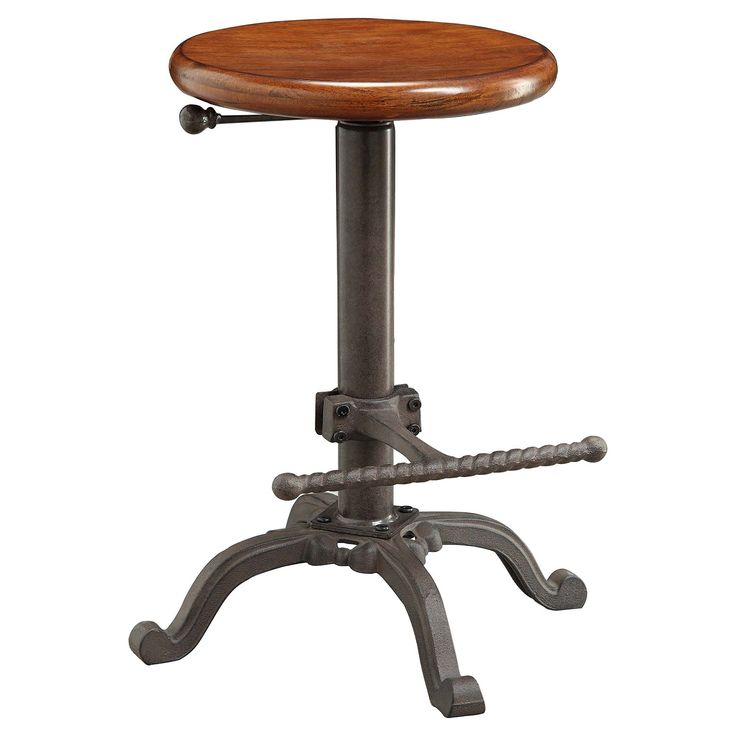 """<p>Same attractive and height adjustable metal base as the Tractor Seat Stool but with a rich chestnut wood seat</p><p>Iron Restoration Style Stool, Rustic Wood Seat with Adjustable Height and Foot Rest, Lowest height 24"""", Highest Height 32"""" ,The Rustic wood Seat is 14"""" Round, locking swivel mechanism.</p>"""