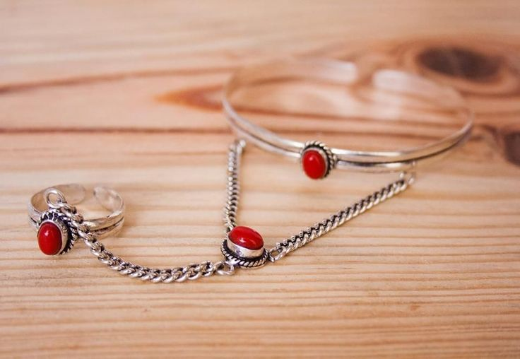 Indian Silver + Red Stone via FILOMENA ∵ Indian Jewelry. Click on the image to see more!