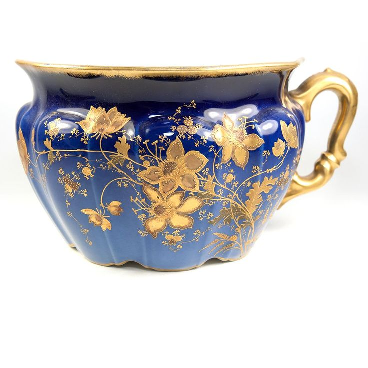 Antique REDON Limoges French Chamber Pot, Planter or Jardiniere, Raised Gold Enamel on Cobalt