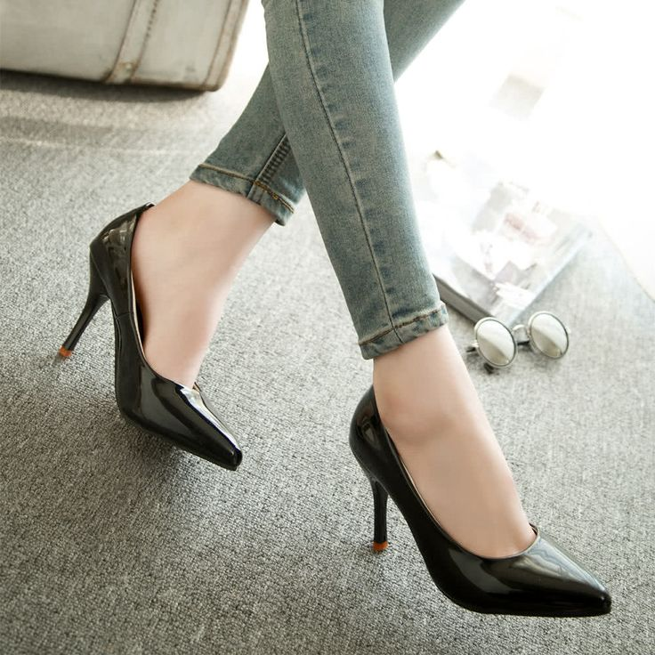New Fashion Women Pumps Patent Leather Candy Color Pointed Toe Sales Online black 5.5 - Tomtop.com