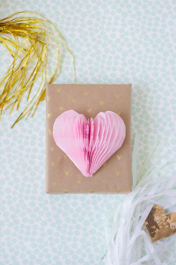 DIY Gold Pattern & Honeycomb Heart Gift Wrap