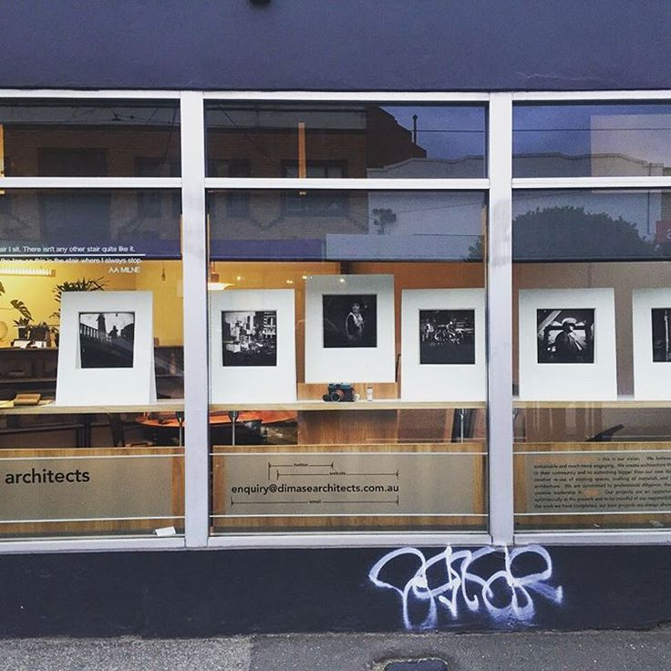 "Di Mase Architects on Instagram: ""New Shopfront Exhibition Series is up. Many thanks to the talented David Fowler for some beautiful photography. You won't believe the camera they were taken on. Hint:- it's part of the exhibition. Graffiti is going tomorrow. """