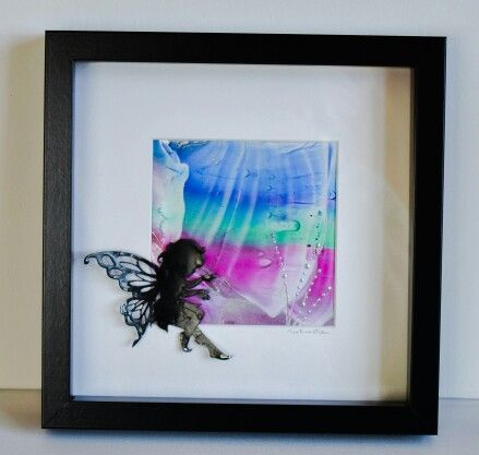 Encaustic wax painted fairy and abstract background created by Moo Doodle https://www.facebook.com/moodoodle15