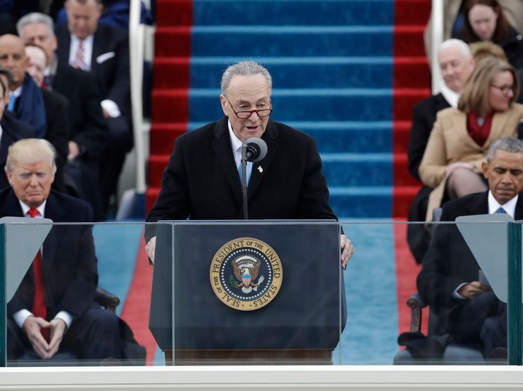 Senate Minority Leader Chuck Schumer delivered a fiery speech during the inauguration on Friday...