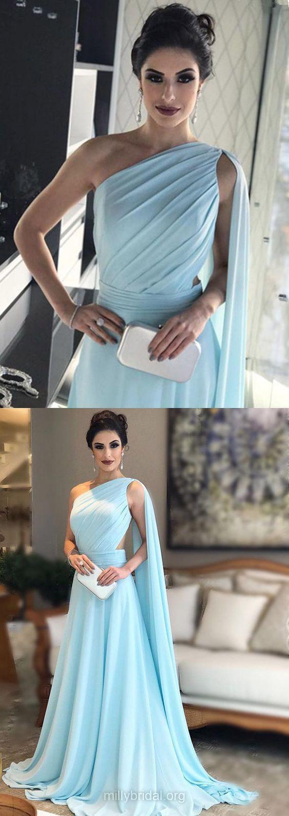 Blue Prom Dresses, Long Prom Dresses, A-line Prom Dresses One Shoulder, Chiffon Formal Evening Dresses Ruffles Modest #eveningdresses