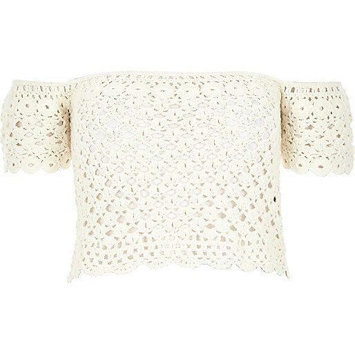 Cream crochet bardot top - knitted tops - knitwear - women