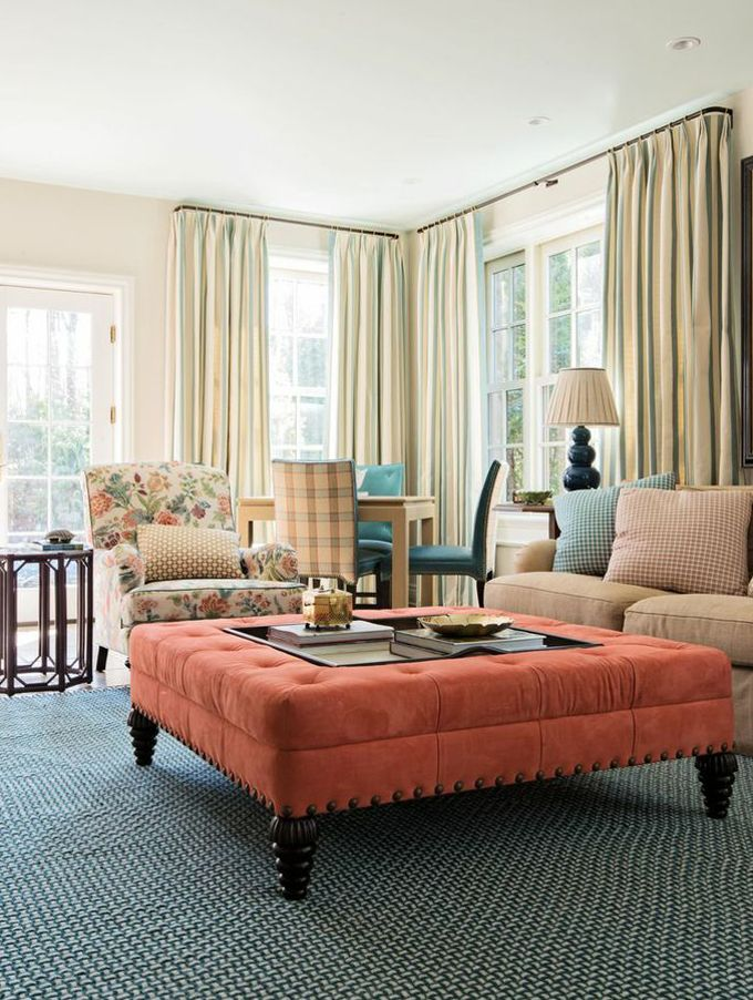 I should have covered my ottoman like this one in two separate pieces House of Turquoise: Lindsey Coral Harper Interiors