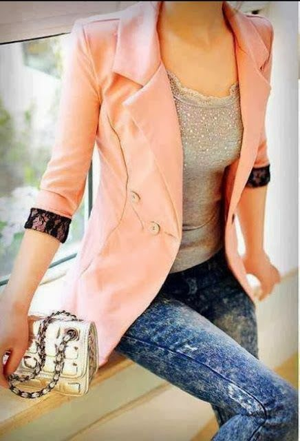 Lace Cuff Blazer With Jeans
