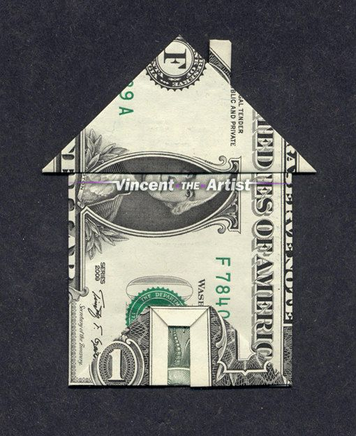 Dollar Bill Origami HOUSE w/ Chimney  Front Door - Made with a $1 bill. Designed by Jeremy Shaeffer.