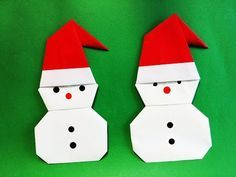 눈사람 종이접기, 산타모자 만들기 Origami Winter Snowman Easy Paper Santa Claus hat Tutorial - YouTube