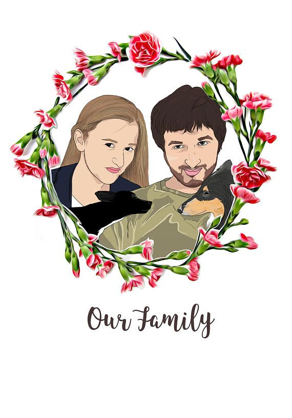 Family Portrait Illustration, Illustrated Portrait with Wreath, Custom Gift for Her, Personalised Gift for Him, Digital File