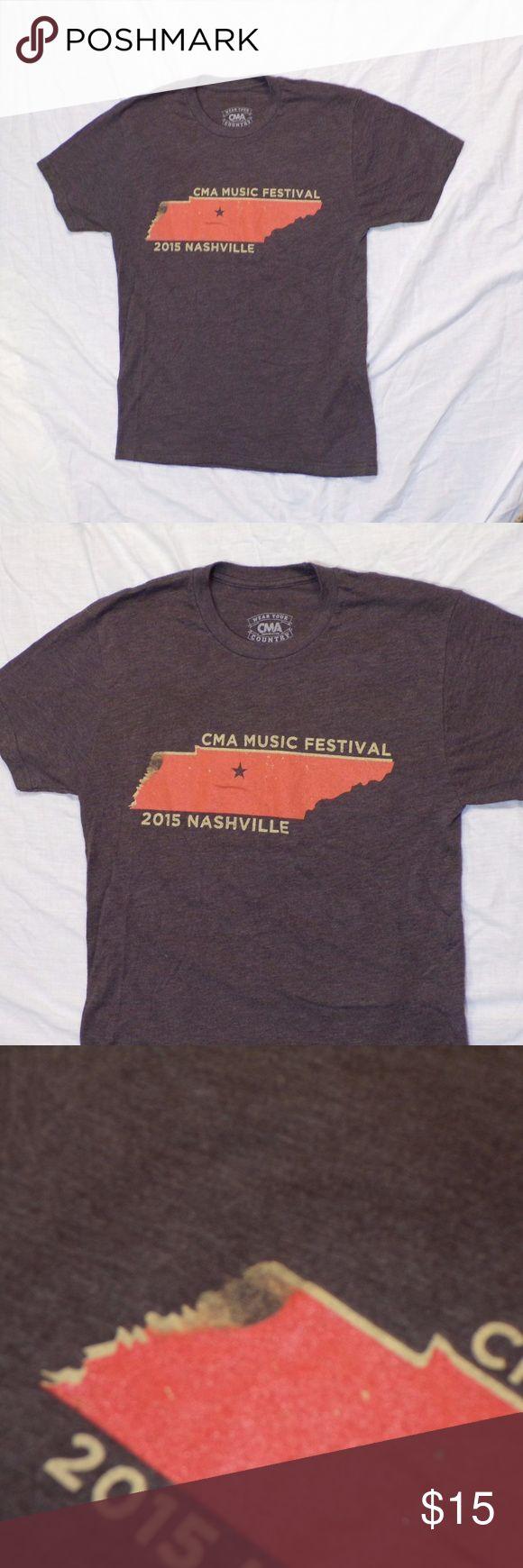 CMA Country Music Festival 2015 Tee Shirt Brown short sleeve t-shirt. From Country Music Festival Nashville in 2015. Orange Tennessee shape. Vintage like print. GUC. Pet Friendly + Smoke Free Home. Tops Tees - Short Sleeve