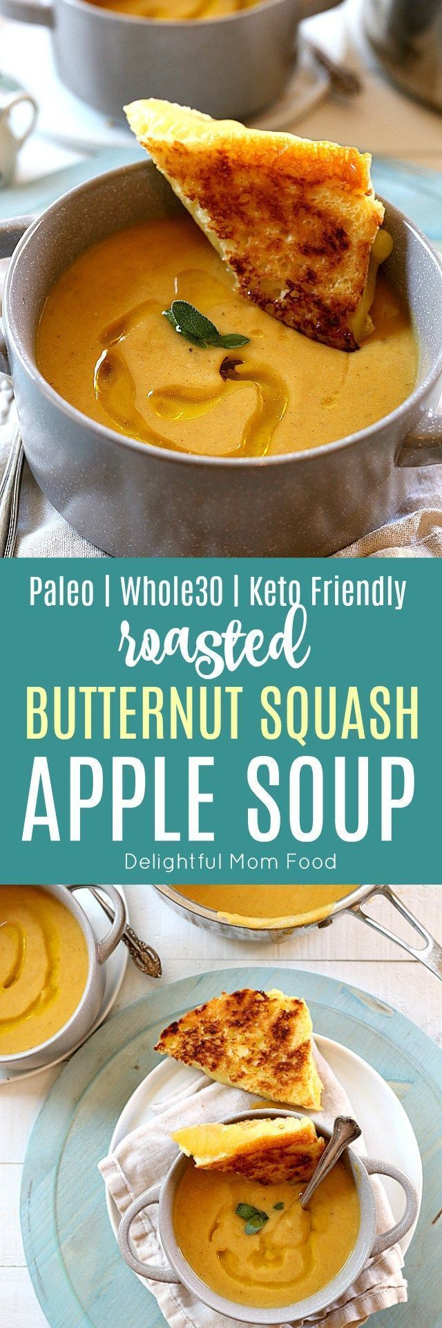 Nourishing roasted butternut squash apple soup has all the flavors of fall simmered together after roasting the squash for about 30 minutes. This vegan soup is made with an optional Paleo, Keto, Whole30 version and is a fall favorite all around! | Delightful Mom Food | #fall #paleo #whole30 #keto #healthy #butternutsquash #soup #recipe #apple