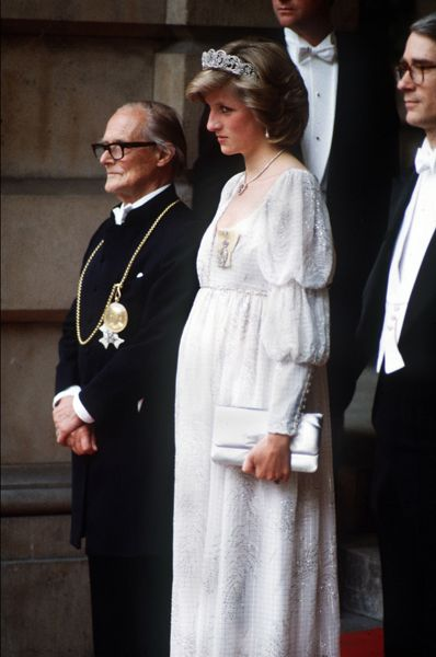 Princess Diana wearing a gown by Bellville Sassoon at the Royal Academy of Arts - May 1984
