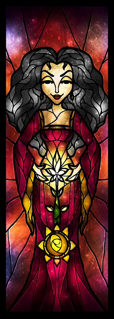 Mother Gothel Stained Glass by Mandie Manzano! <3 Contact me for FREE vacation planning assistance! www.facebook.com/katiesdreamvacations