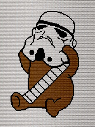 EWOK WOOKIE  WITH HELMET STAR WARS CROCHET AFGHAN PATTERN GRAPH