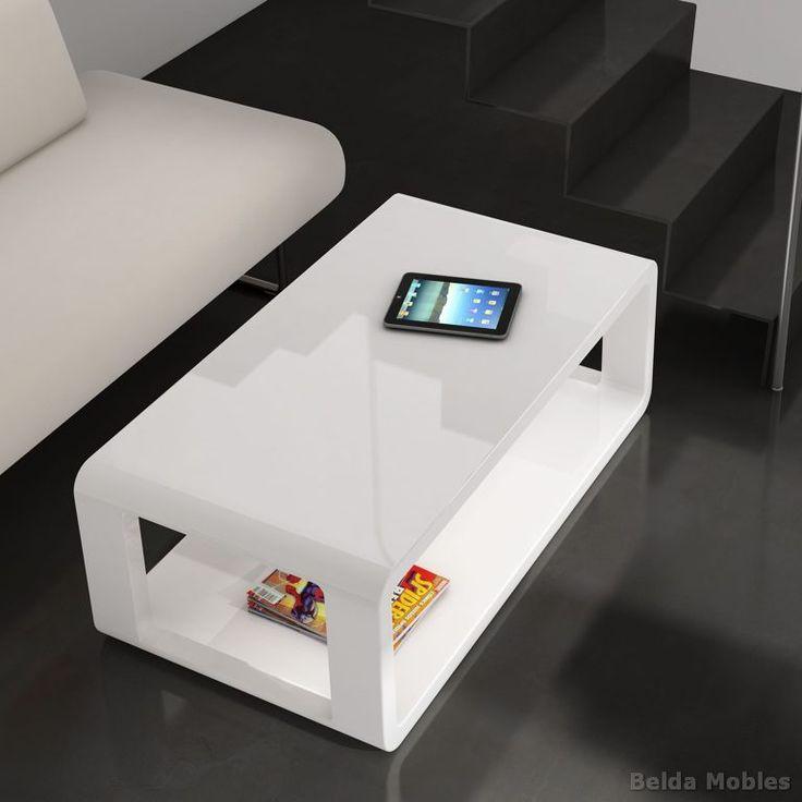 Mesa centro moderna lacada blanco brillo mesa para el for Sofas espanoles calidad