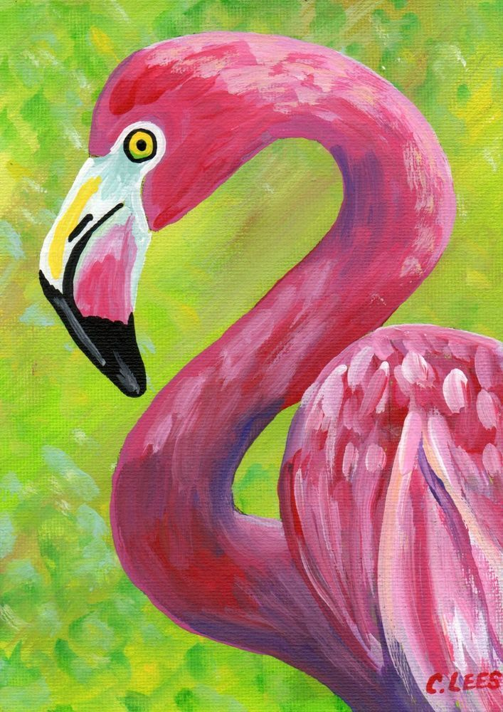 "5""x7"" Original Acrylic Painting, Pink Flamingo Bird, Art on Flat Panel Canvas #IllustrationArt"