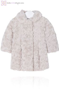 Baby Girl Plush Beige Faux Fur Coat