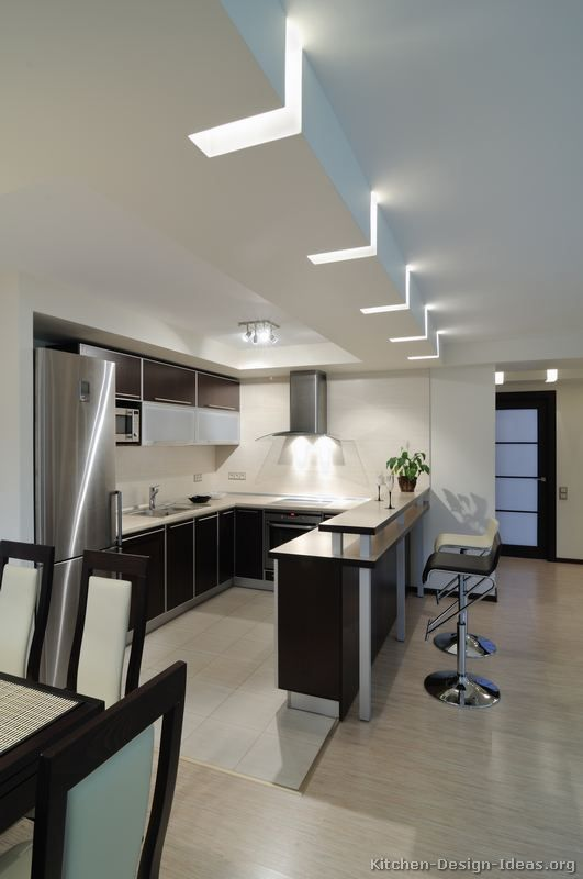 Kitchen Idea Of The Day: Modern Two Tone Kitchens. Very Interesting Lighting !