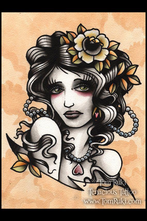 Sad Lady Tattoo Print. flower pearls beads old school  tattoo flash art ~A.R.