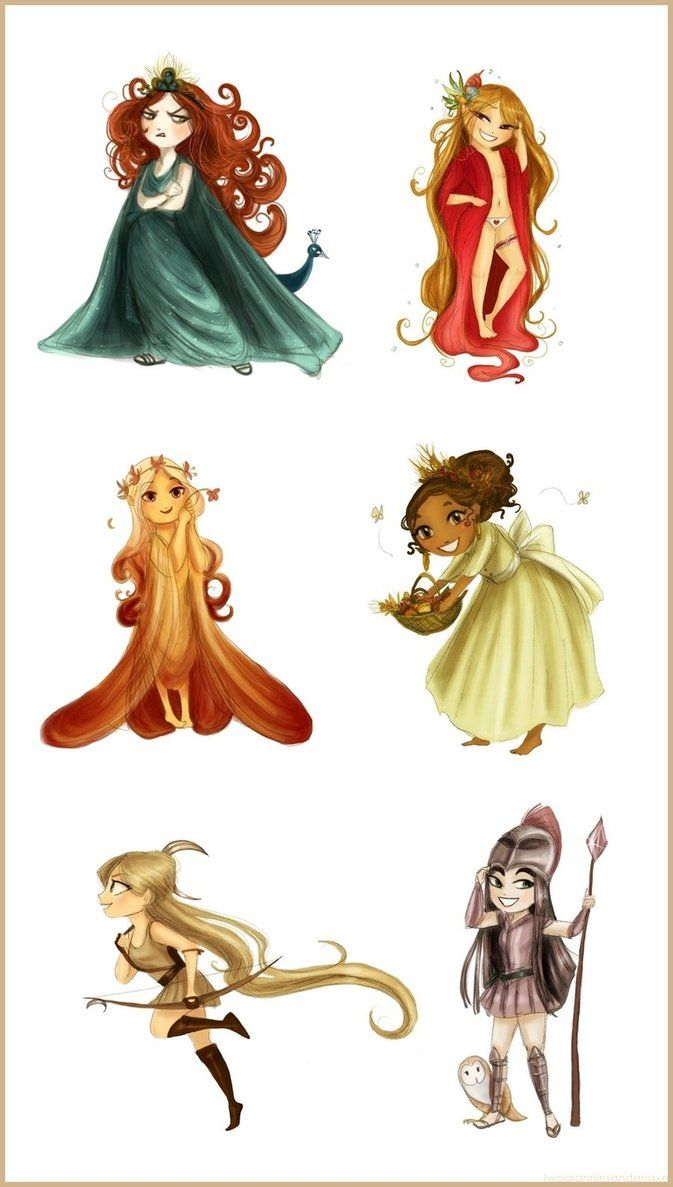 You already know them, from left to right: Hera and her little nasty peacock, Aphrodite with panties, Persephone (a special gift for Lauren), Demeter with some vegetables, Artemis hunting some poor devil and Athena and her little owl!