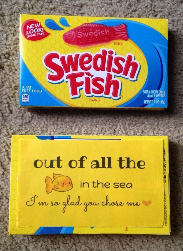 DIY Boyfriend Gifts - DIY Gifts - Anniversary Gift - Just Because Gift - Candy Puns - Candygram -  Love Notes - Swedish Fish #boyfriendgiftsideas #anniversarygifts #boyfriendbirthdaygifts #boyfriendanniversarygifts