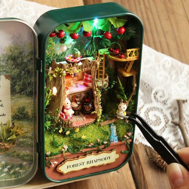 Кукольный Дом Diy Миниатюрный Деревянный Кукольный Домик Головоломка Miniaturas Мебель Дом Игрушки Куклы Для Подарок На День Рождения Коробка Театр Трилогии