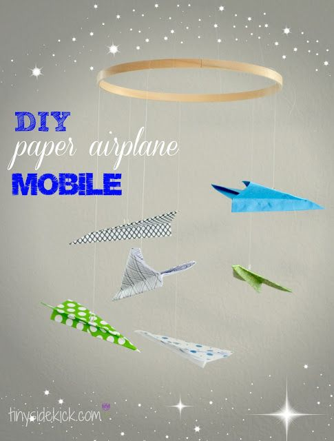 DIY Paper Airplane Mobile {my baby boy's nursery} #nursery #paperairplanemobile