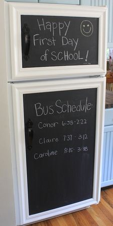 Refrigerator door made doubly functional with chalkboard paint