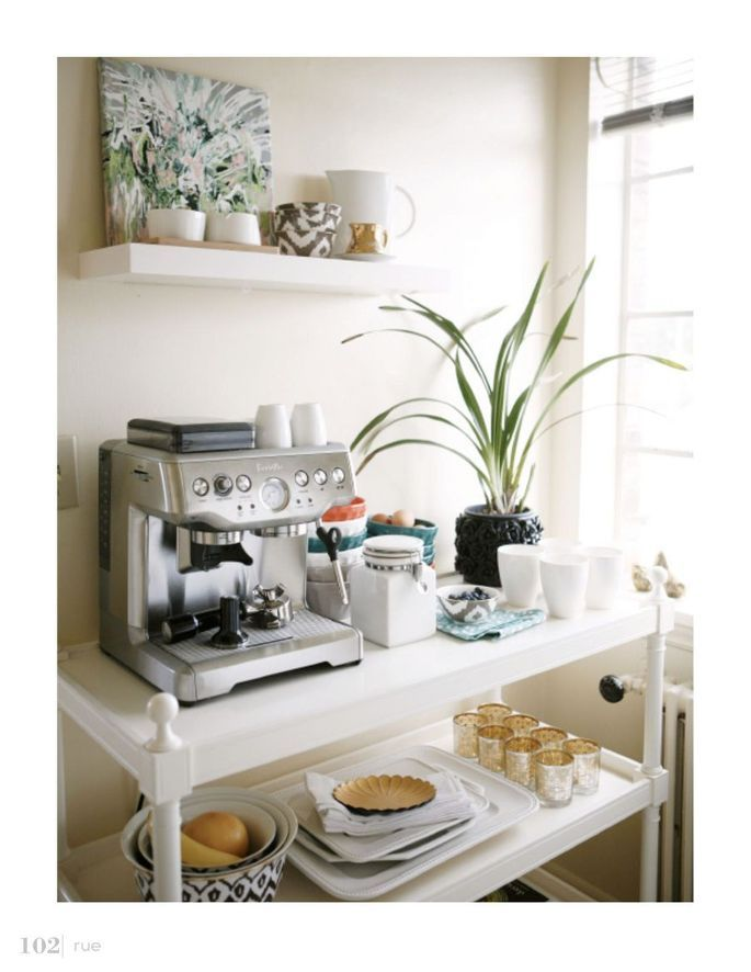 What a nifty idea! Transform an old changing table into this for kitchen coffee bar.