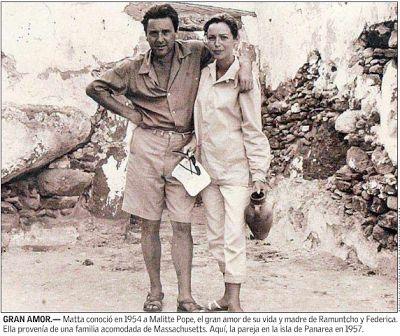 Roberto Matta y su esposa Malitte Pope. El viajado entre Perú y Panamá, pintando mucho de lo que vio.