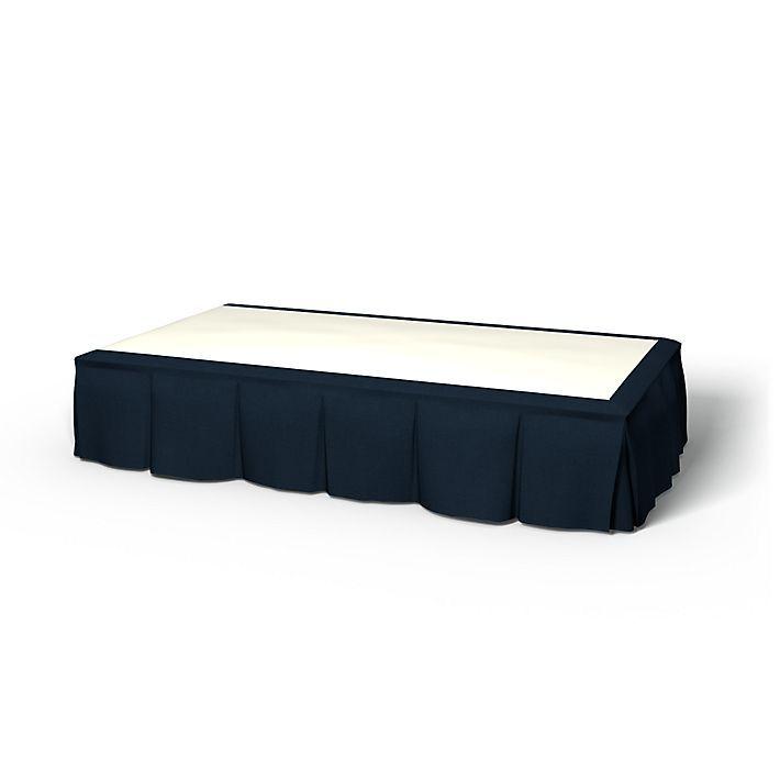 Cache sommier, Cache sommiers, 160x200 cm, Hauteur 60cm, Plis sur les bords utiliser le tissu Simply Cotton Deep Navy Blue