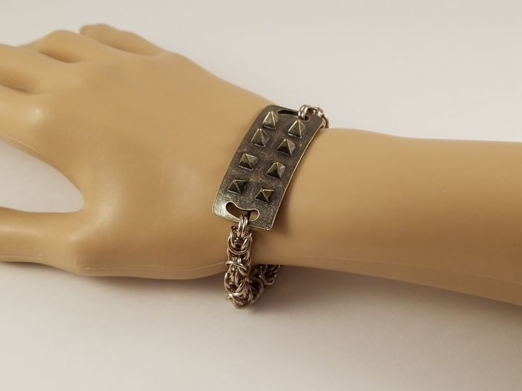 A spiked chainmaille bracelet! #etsy #chainmail #chainmaille #bracelet #jewelry #steampunk #punk #spikes