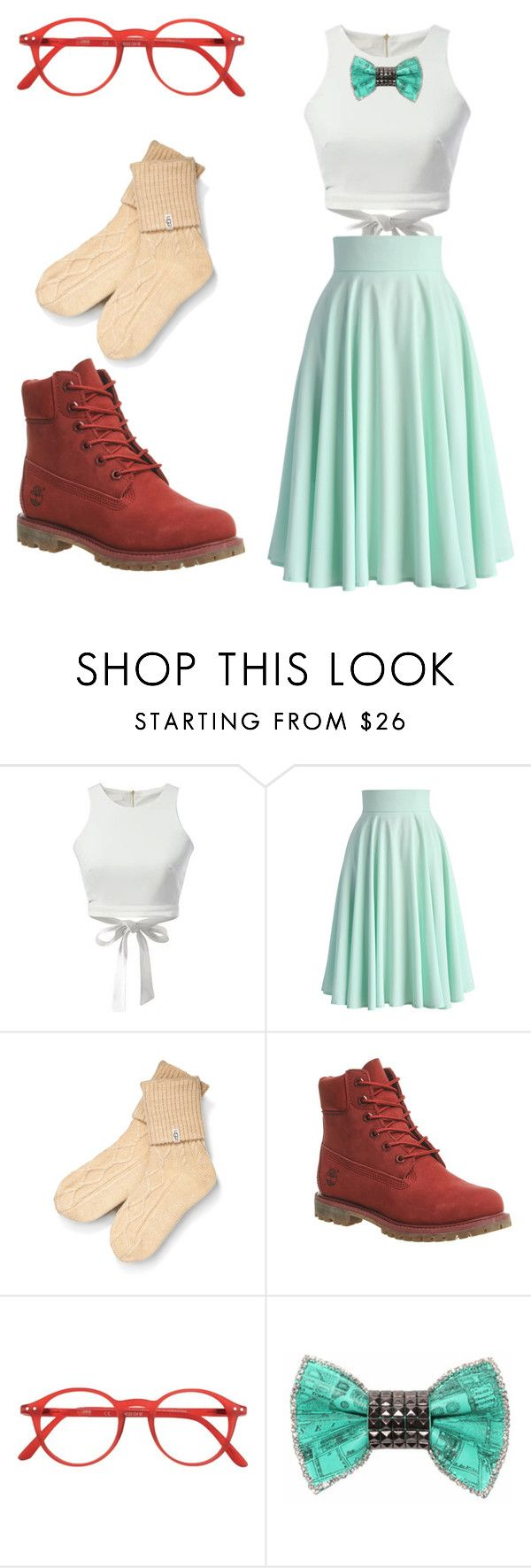 """""""Connie bound"""" by auridoll on Polyvore featuring moda, WithChic, Chicwish, UGG Australia, Timberland, See Concept, Bijoux de Famille, Boots, mint y glasses"""