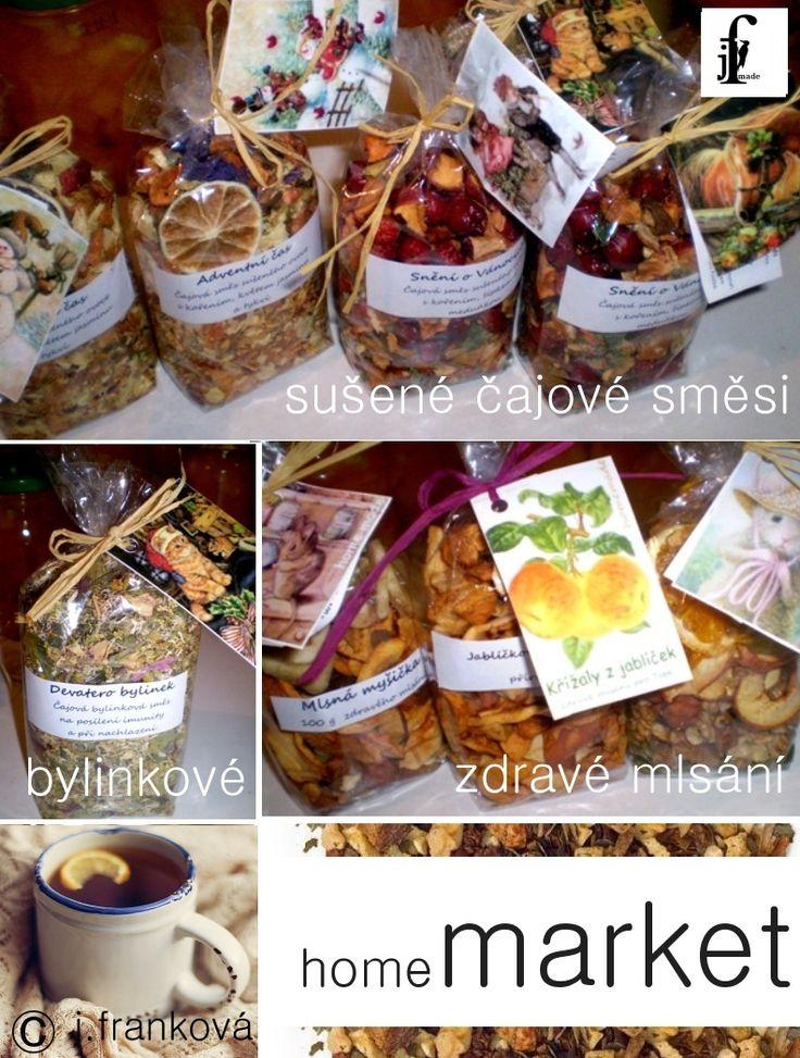 Směsi sušených čajů - bylinkovo ovocné Čajové směsi 100 g Devatero bylinek- bylinná směs při nachlazení a na posílení imunity Vánoční rolničky - jablko, pomeranč, citron,jeřabiny, květ jeřábu Adventní čas - jablko, hruška, tykev a květ jasmínu, koření Andělské políbení - jablko, hruška, pomeranč, lipomý květ, anýz  Snění o Vánocích - jablíčko, ...
