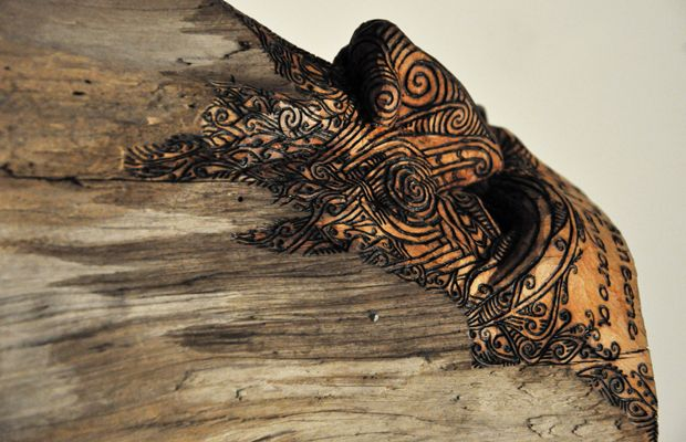 Conor Jeory Kura Gallery Maori Carving New Zealand Art Design Totara Kaitiaki Tangaroa Carved Post det 4