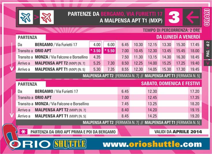 New timetable Line 3 Bergamo/Orio al Serio APT > Monza > Malpensa T2-T1 (from 1st April 2014)