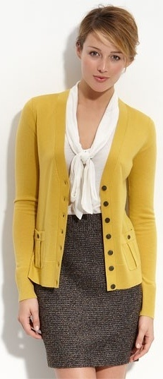 Outfit Posts: outfit post: mustard cardigan, white tie blouse, brown pencil skirt, peep toed pumps