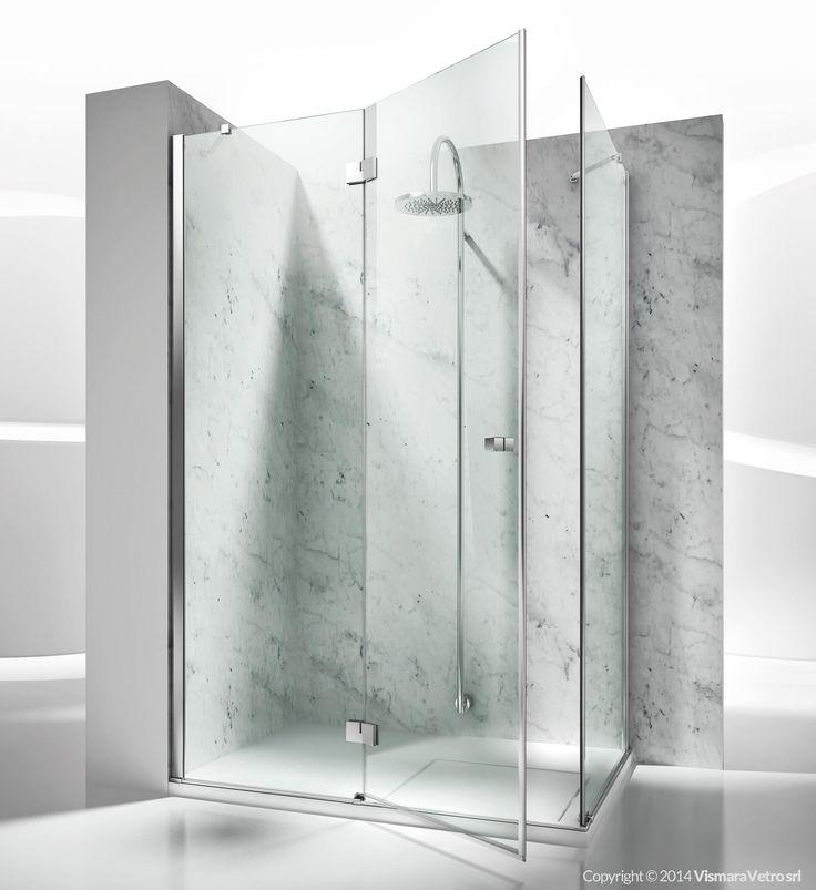 box doccia cristallo   collezioni cabine box doccia su misura   sintesi   sa+sf   apertura battente   vismaravetro