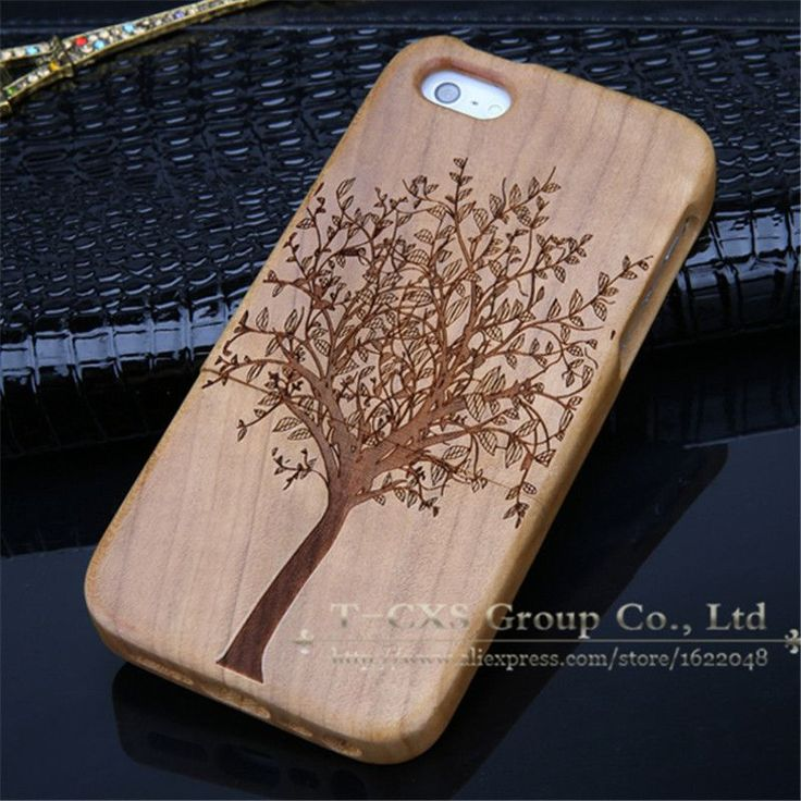 Case For iphone 5C New Bamboo Traditional Sculpture Wood Hard Back Wooden Case…